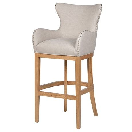 Bar Stool in Ivory with Ring Detail