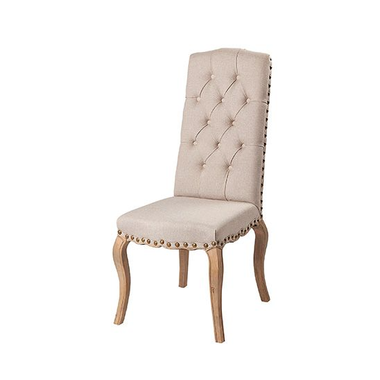 Linen Studded Detail Dining Chair
